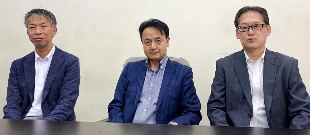 酒井様(左)、吉田常務(中央)、盛室長(右)